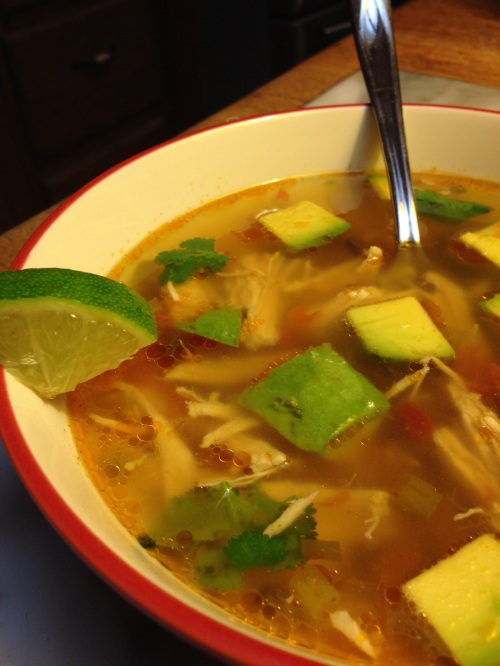 Use the search box to find the recipe for this low-carb avocado chicken soup