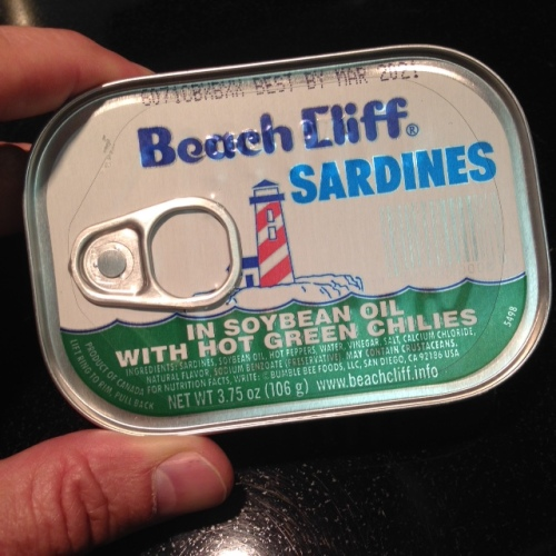 """If memory serves, I paid $1.29 for this tin of sardines. """"Best used by"""" date is five years from now."""