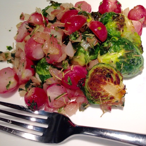 Roasted Radishes and Brussels Sprouts. Copyright Steve Parker MD